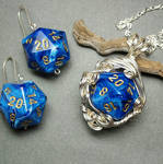 Custom Bridal D20 Dice Set in Blue and Silver