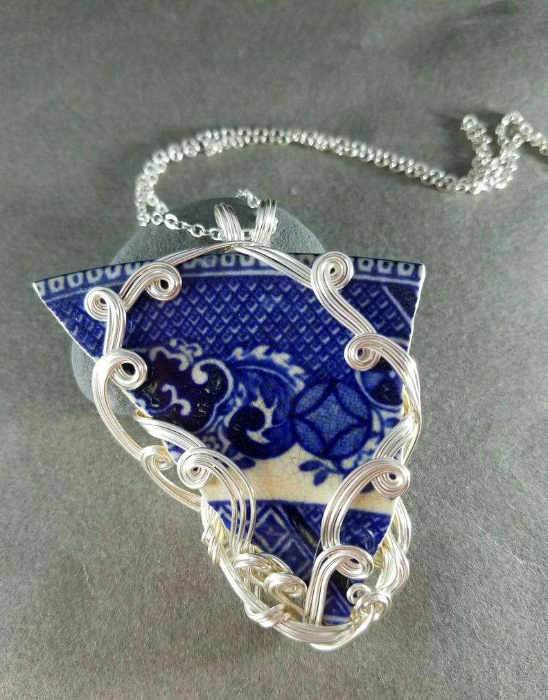 Maine Sea China Pendant Necklace  by sojourncuriosities