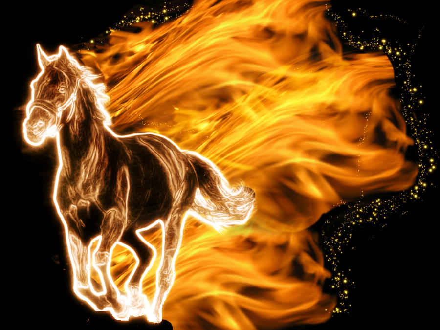 Burning Horse By Mortenthoms