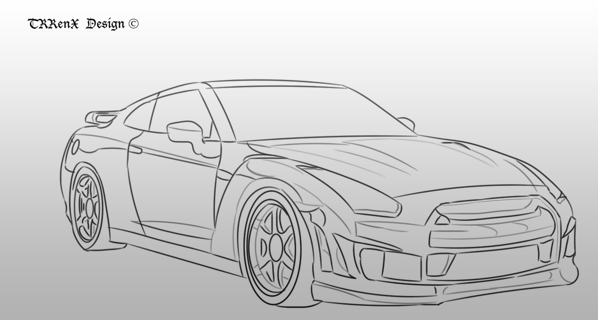 Nissan Skyline R35 Sketch by