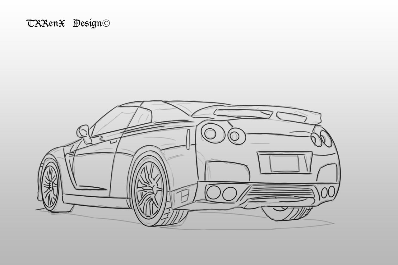 Line Drawing Nissan Gtr : Nissan skyline r back by trrenx on deviantart