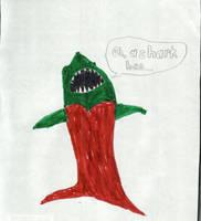 A Green Singing Shark in an Evening Dress