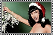 Bettie Page Christmas stamp by NinthTaboo