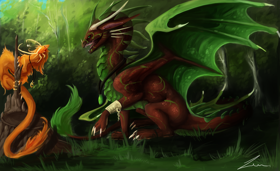 Lasterija and forest creature by Zenida