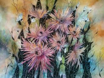 Original Watercolor Flowers Painting by vangelija