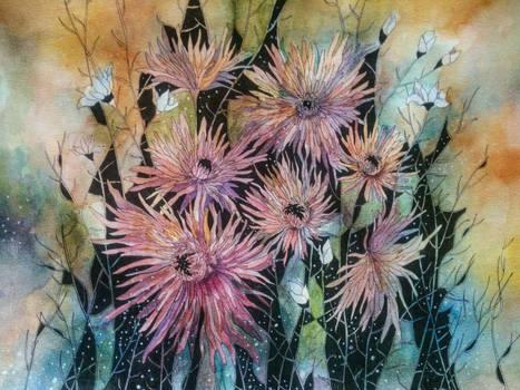Original Watercolor Flowers Painting