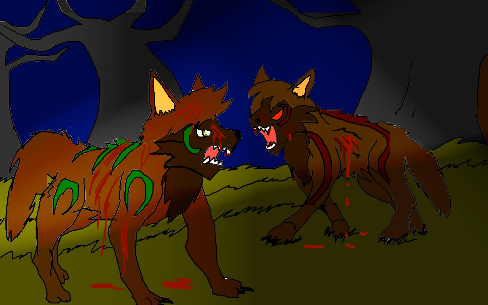 Wolf fight by ShadowClawZ