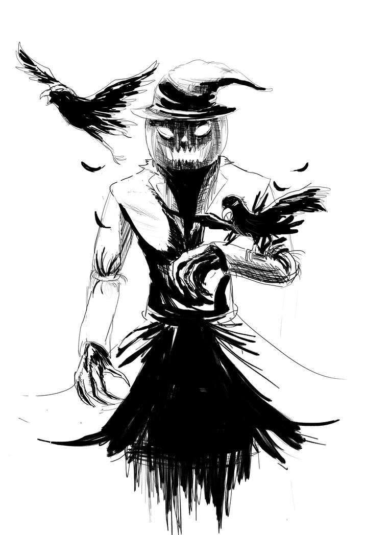 Scarecrow Maniacally *line art by ShadowClawZ