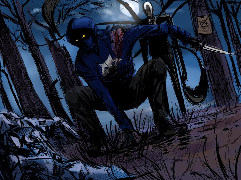 Wolf vs Slenderman Illustration by ShadowClawZ