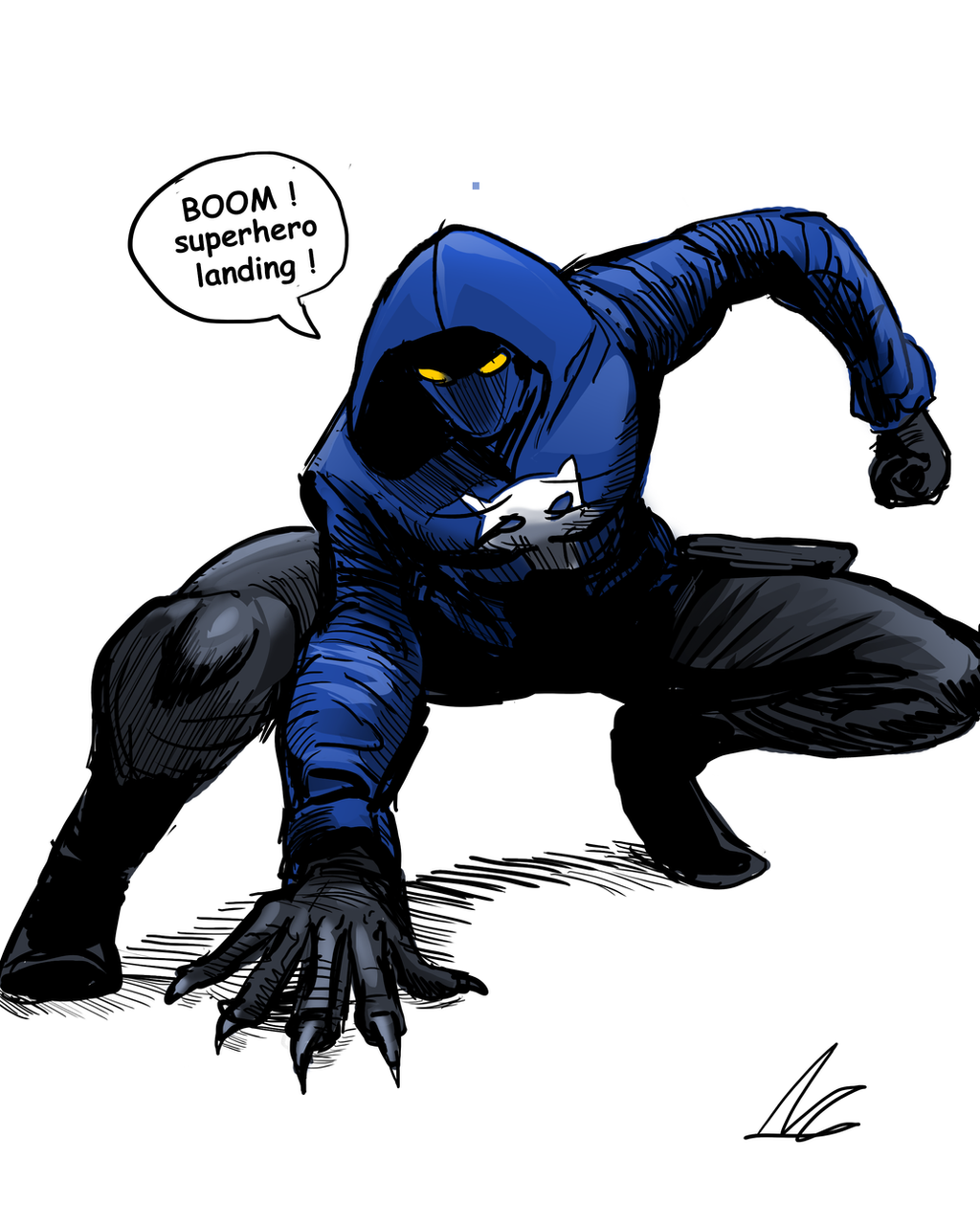 Super hero landing *doodle* by ShadowClawZ