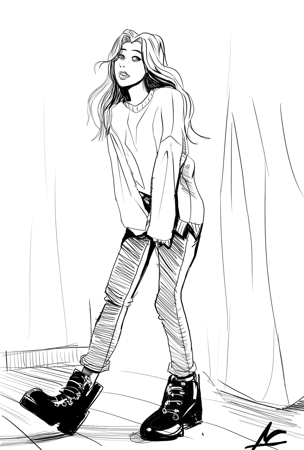 Girl In Sweater by ShadowClawZ