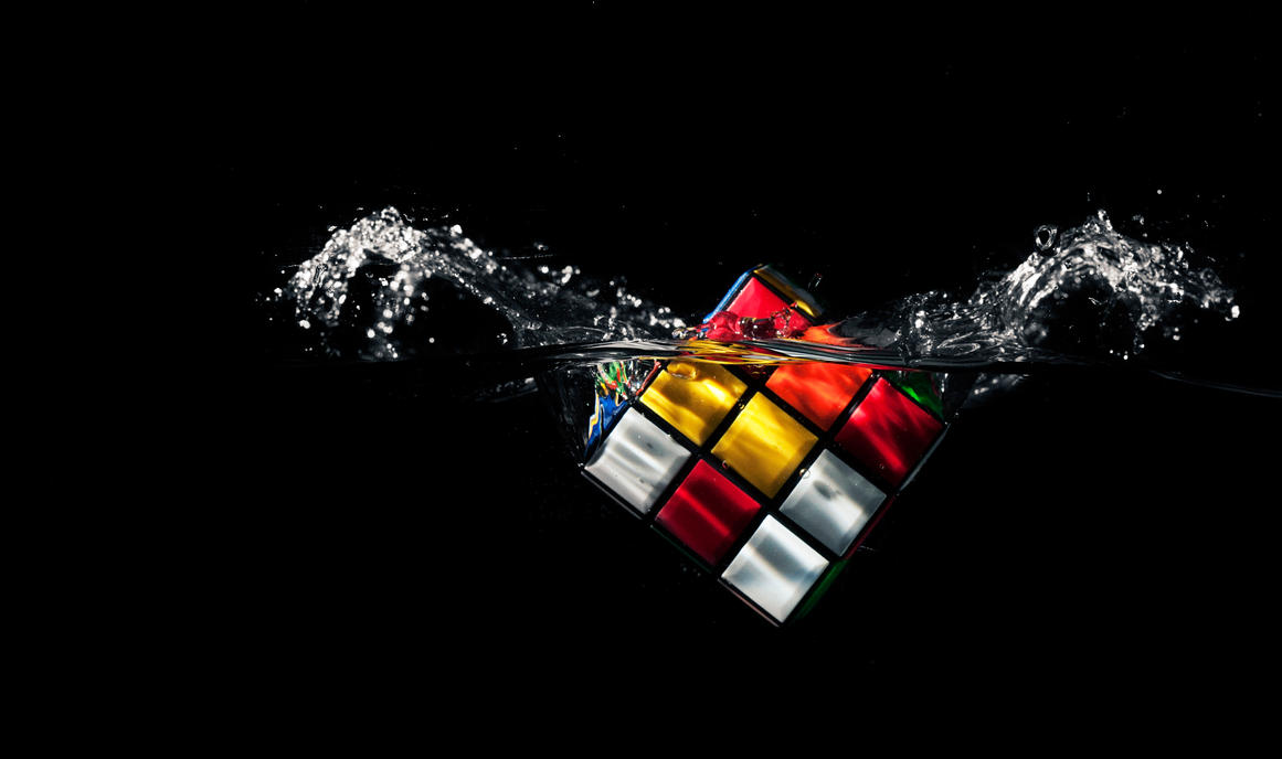 Rubik's cube splash in water wallpaper HD by Samuels-Graphics