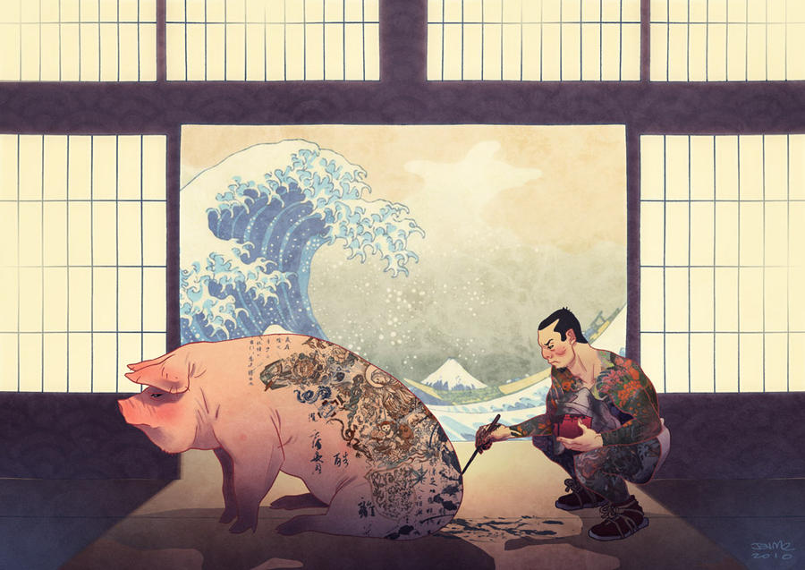Japanese with Pig and Wave