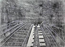 Rollercoaster, wood print