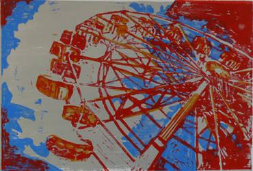 Ferris wheel wood print by Ruthygi