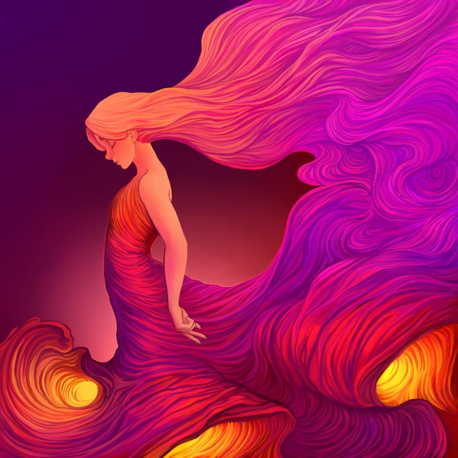 Flowy lava goddess by xLunatiCXz