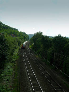 A train approaching Marburg