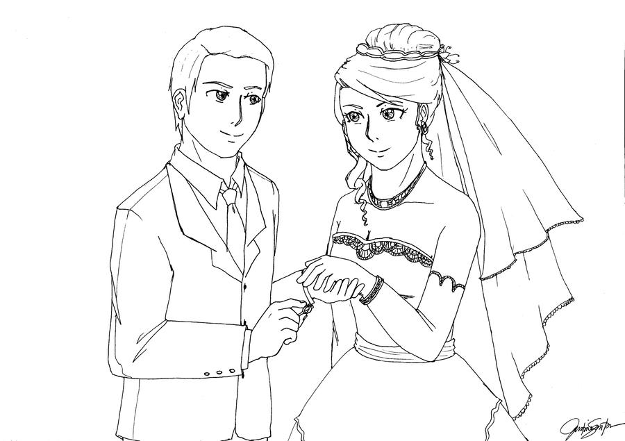 lesbian wedding coloring pages | wedding lineart by dawnzzzkie on DeviantArt