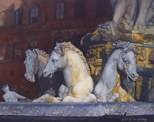Neptunes Horses - Florence- Oil Painting by AstridBruning