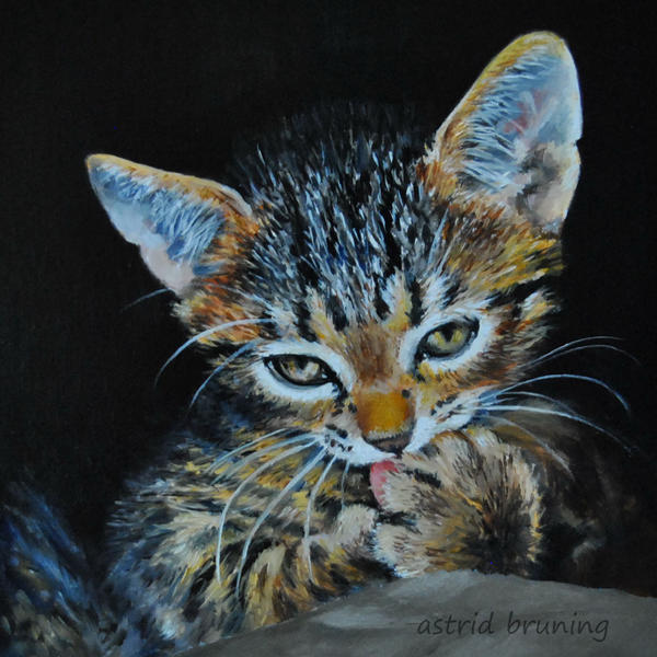 Grooming - Miniature OIL PAINTING by AstridBruning