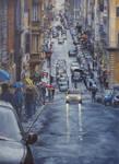 Via Sistina - Roma  ... OIL PAINTING