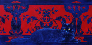Le Chat Bleu- Oil Painting (Update) by AstridBruning