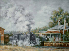 Chiltern Railway Station, Australia - PAINTING by AstridBruning