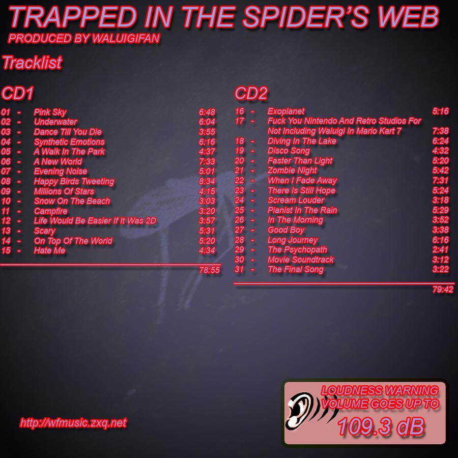 Trapped In The Spider's Web Back Cover by waluigisrevenge