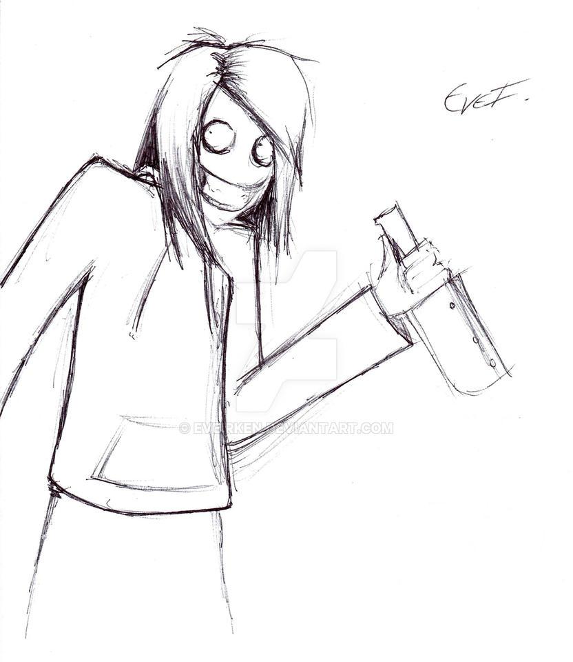 Jeff The Killer-Pen Sketch by EveIrken