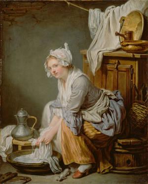 Jean-Baptiste Greuze (French - The Laundress (La B by Baleineau