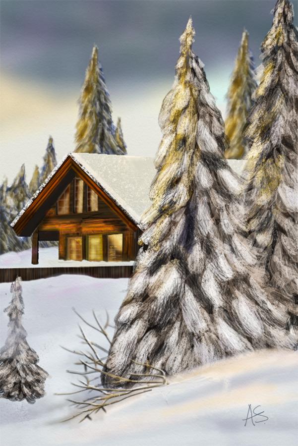 Snow Cabin by vanndra