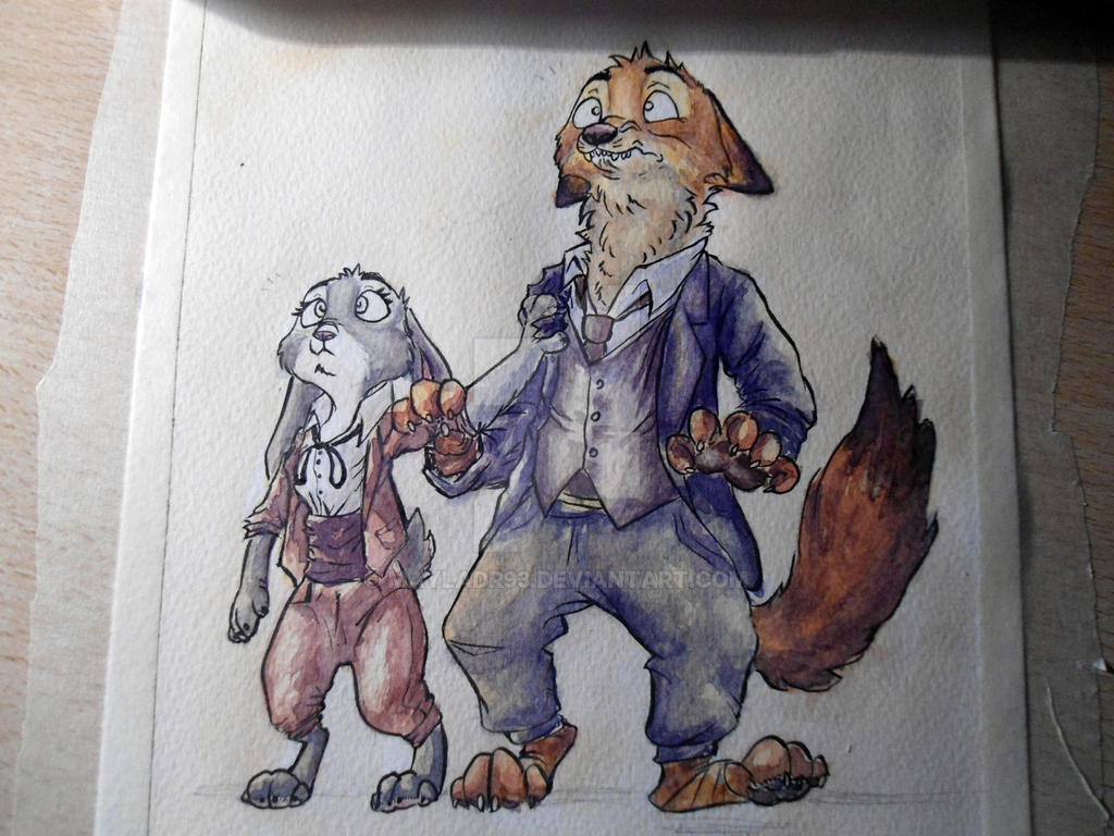 WIP watercolor zootopia oscar by MaylaDR93