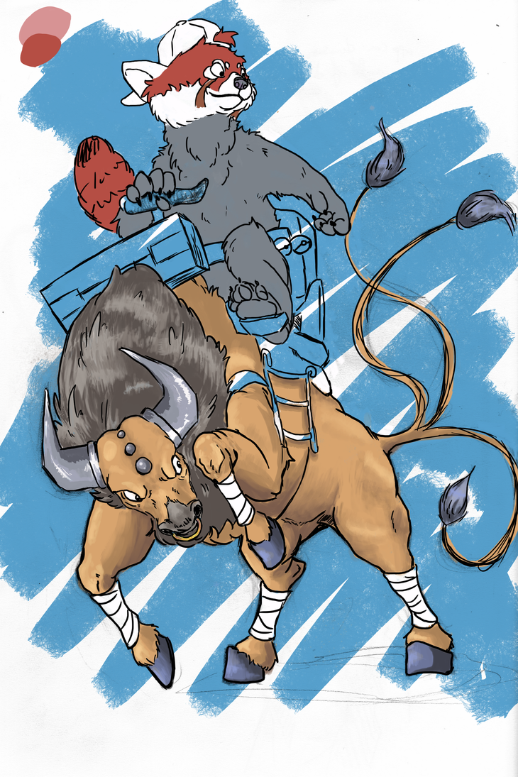 WIP riding tauros by MaylaDR93