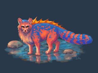 Concept art: a bright oceanic fox by Mothka