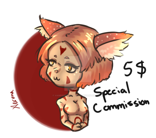 5$/500 P - Special Commission (Chibi - Upwaist) by Vampirelady-Vanity