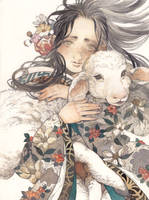 Girl with Little Sheep by kaizbow