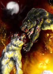 Werewolves fight by FuriarossaAndMimma