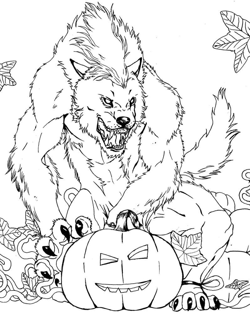 werewolf coloring page - werewolf and pumpkin lineart by furiarossaandmimma on
