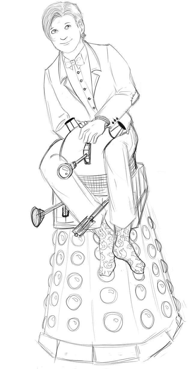 the eleventh doctor sketch i ride a dalek now by