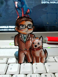 Paperchild 181. Harold Finch and Bear by FuriarossaAndMimma