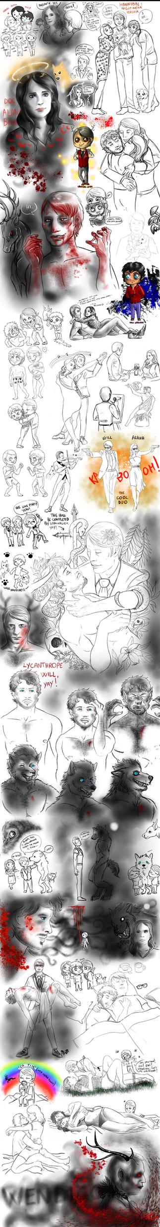 NBC Hannibal sketchdump by FuriarossaAndMimma