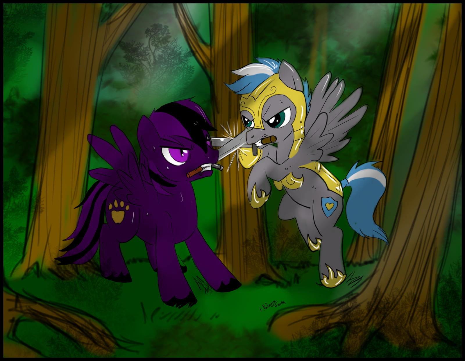 Commission - Battle in the forest by FuriarossaAndMimma