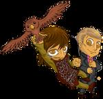 Chibi Hannibal/King Arthur - Two hunters by FuriarossaAndMimma