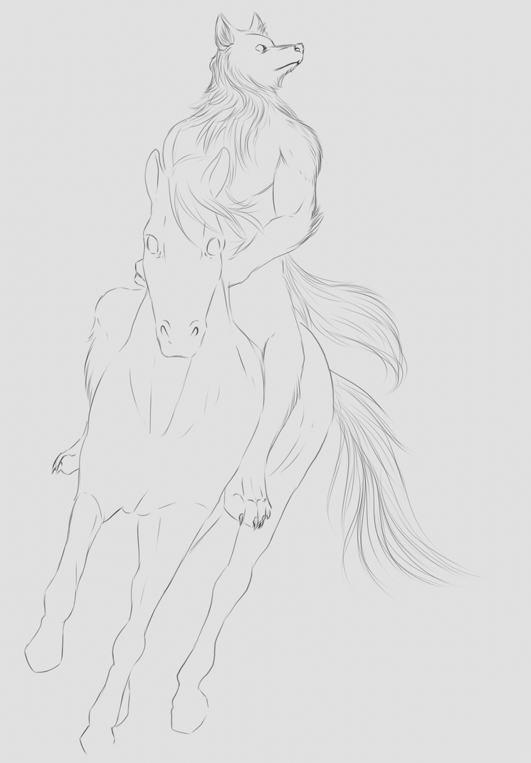 Commission WIP - Riding by FuriarossaAndMimma