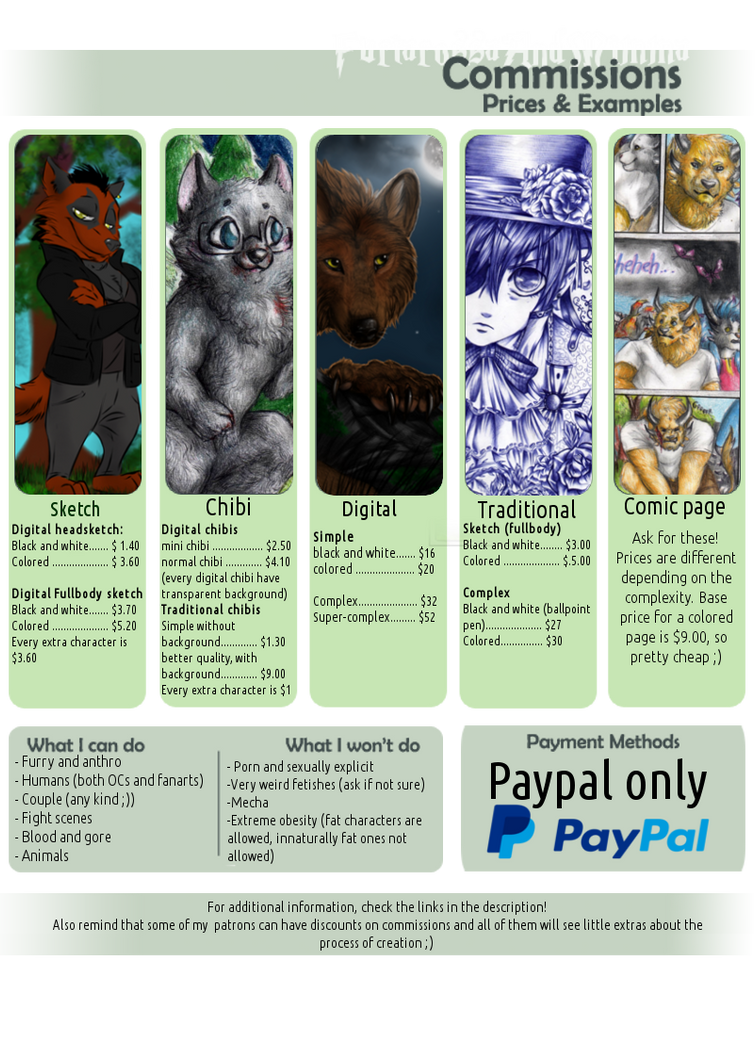 Commission prices for 2016/2017 by FuriarossaAndMimma