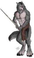 Commission - The werewolf with a sword by FuriarossaAndMimma
