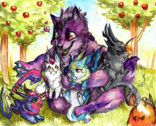 Chibi Commission - Hoarding saberbunnies by FuriarossaAndMimma