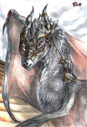 Wolfaren, the silver dragoness by FuriarossaAndMimma