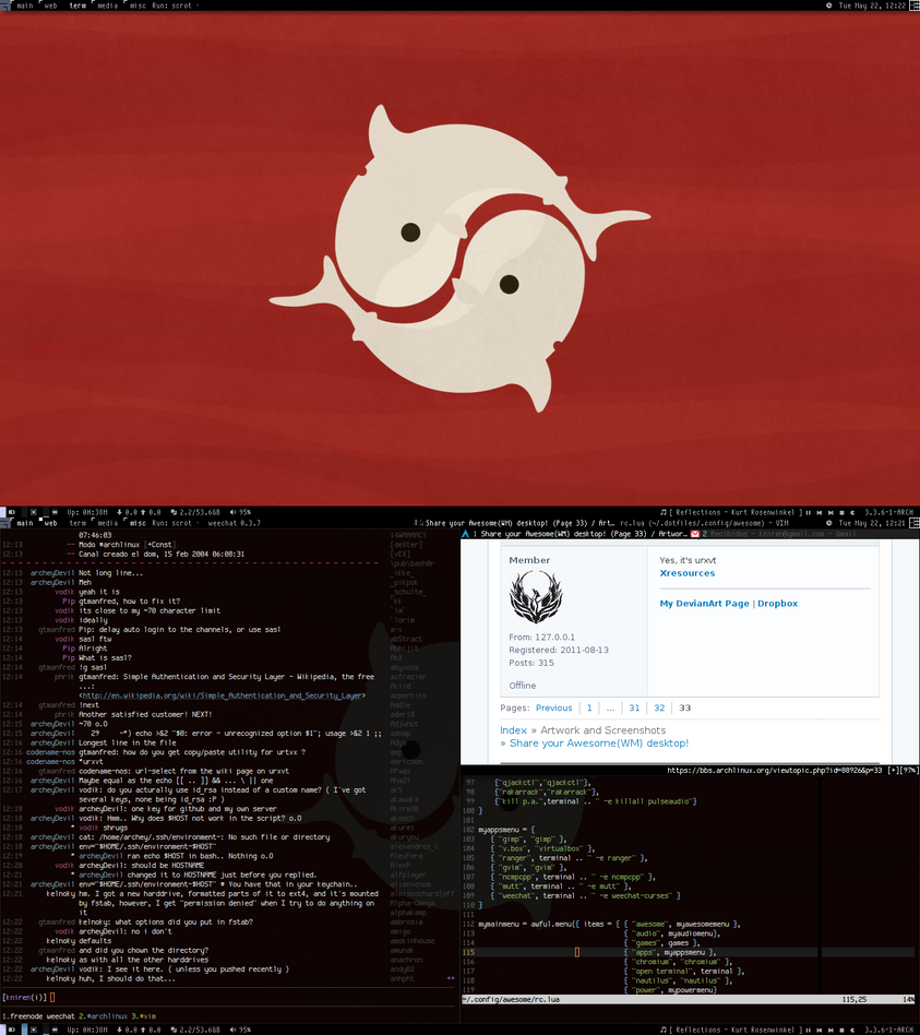 Archlinux + Awesome (Updated) May 2012 by KniRen