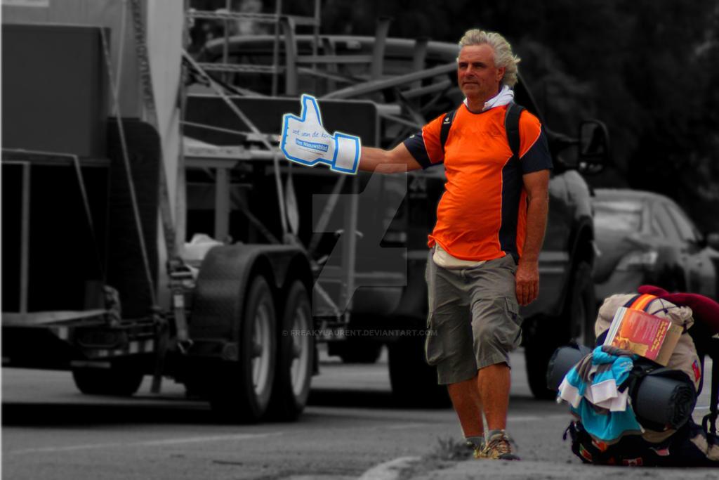 Humorous Hitchhiker by FreakyLaurent